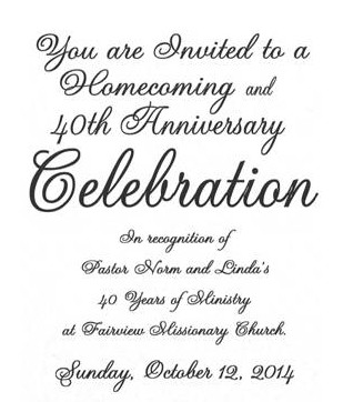 Homecoming and 40th anniversary celebration fairview missionary fuller 40 anniversary invitation banner stopboris Images